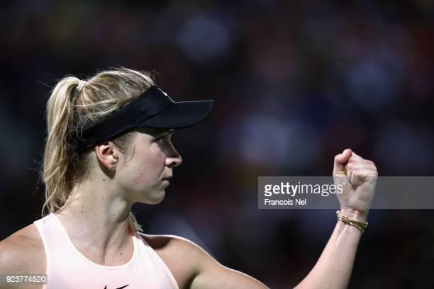 Elina Svitolina of Ukraine celebrates against Daria Kasatkina of Russia during her women's singles match on day six of the of the WTA Dubai Duty Free...