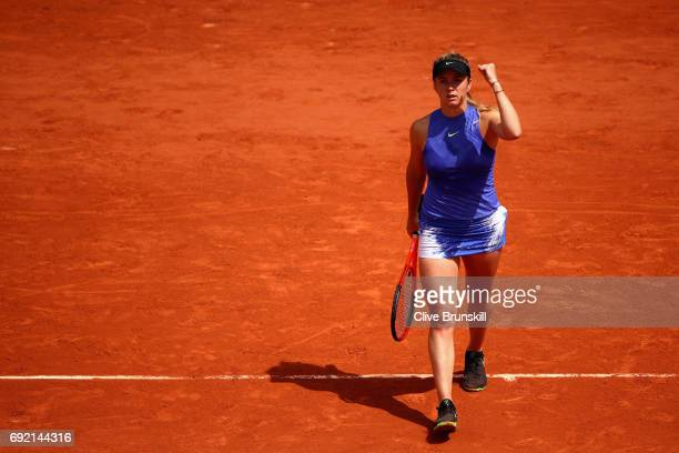 Elina Svitolina of Ukraine celebrates following victory during the ladies singles third round match against Magda Linette of Poland on day eight of...