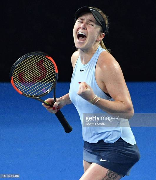 Elina Svitolina of Ukraine celebrates her victory over Karolina Pliskova of the Czech Republic in their women's singles semifinal match at the...