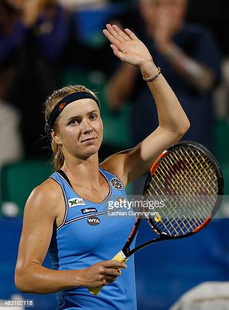 Elina Svitolina of Ukraine celebrates her win in her match against Nicole Gibbs of the United States during day three of the Bank of the West Classic...