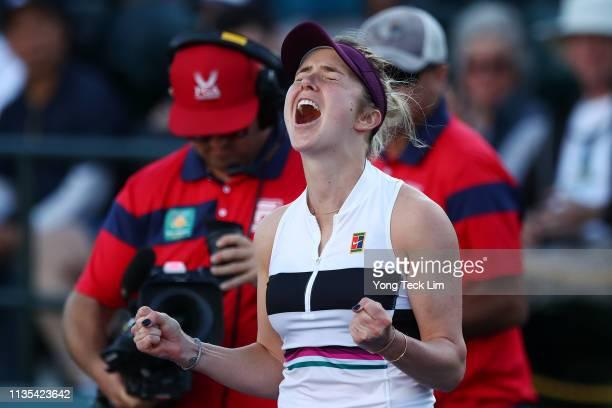 Elina Svitolina of Ukraine celebrates her women's singles fourth round match victory against Ashleigh Barty of Australia on Day 9 of the BNP Paribas...