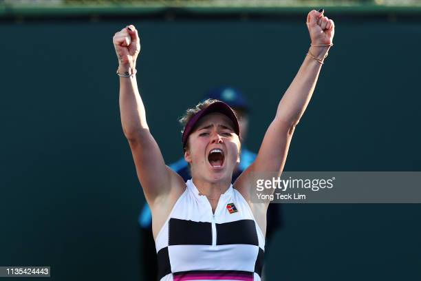 Elina Svitolina of Ukraine celebrates her women's singles fourth round match victory against Ashleigh Barty of Australia on Day 9 of the BNP Paribas...