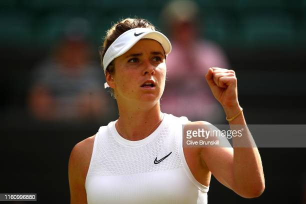 Elina Svitolina of Ukraine celebrates in her Ladies' Singles Quarter Final match against Karolina Muchova of Czech Republic during Day Eight of The...