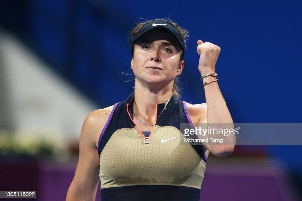Elina Svitolina of Ukraine celebrates in her Round of 16 singles match against Misaki Doi of Japan during Day Three of the Qatar Total Open 2021 at...