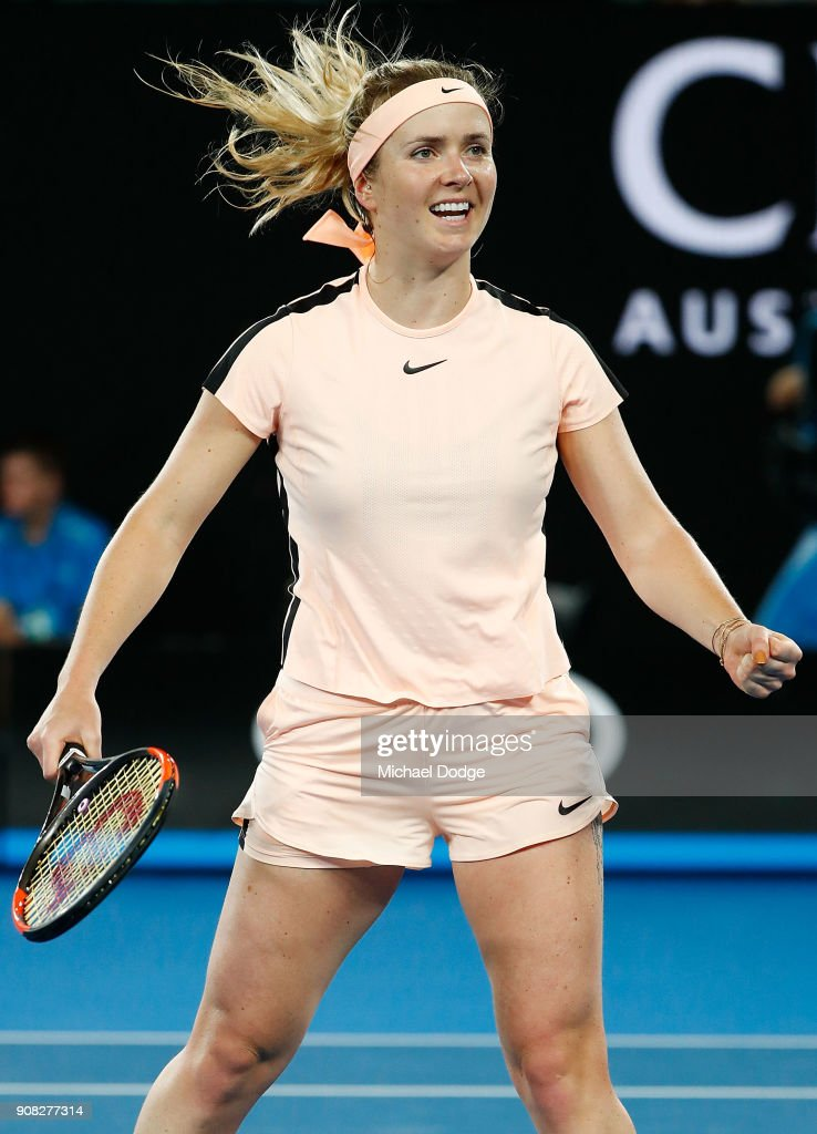 Elina Svitolina of Ukraine celebrates match point against Denisa Allertova of the Czech Republic on day seven of the 2018 Australian Open at Melbourne Park on January 21, 2018 in Melbourne, Australia.