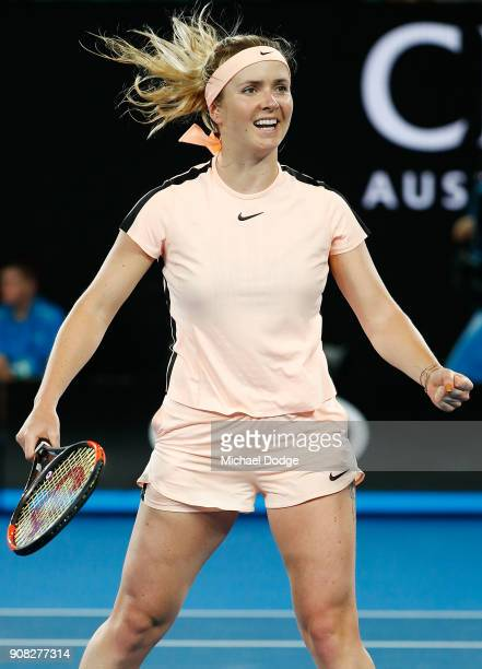 Elina Svitolina of Ukraine celebrates match point against Denisa Allertova of the Czech Republic on day seven of the 2018 Australian Open at...