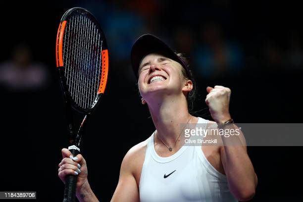 Elina Svitolina of Ukraine celebrates match point against Simona Halep of Romania during their Women's Singles match on Day Four of the 2019 Shiseido...