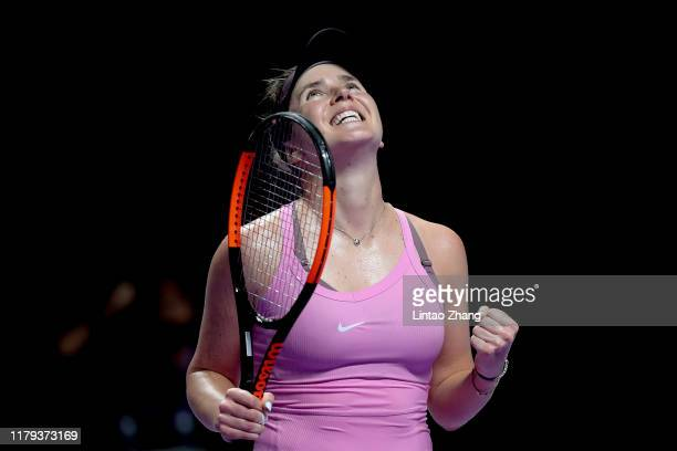 Elina Svitolina of Ukraine celebrates match point against Sofia Kenin of the United States during their Women's Singles match on Day Six of the 2019...