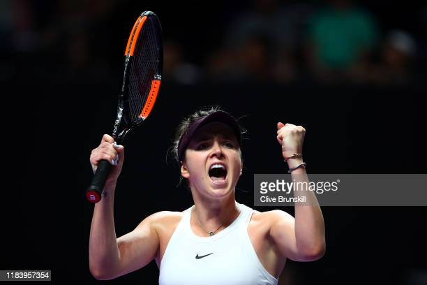 Elina Svitolina of Ukraine celebrates match point and her victory against Karolina Pliskova of the Czech Republic during their Women's Singles match...