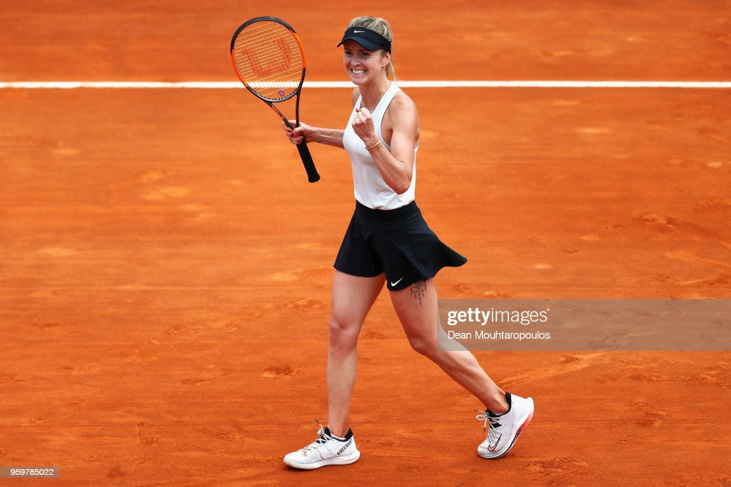 Elina Svitolina of Ukraine celebrates victory after her quarter final match victory against Angelique Kerber of Germany during day 6 of the Internazionali BNL d'Italia 2018 tennis at Foro Italico on May 18, 2018 in Rome, Italy.