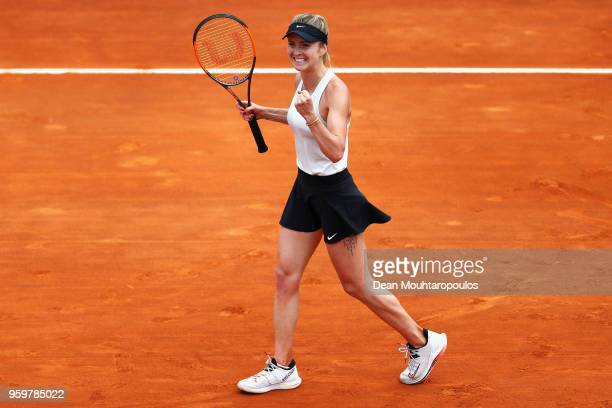Elina Svitolina of Ukraine celebrates victory after her quarter final match victory against Angelique Kerber of Germany during day 6 of the...