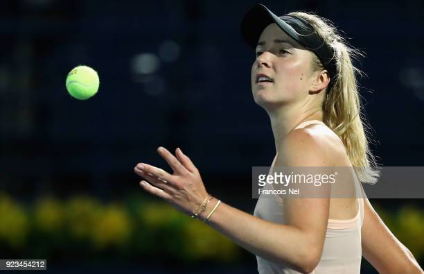 Elina Svitolina of Ukraine celebrates victory after her semi final match against Angelique Kerber of Germany during day five of the WTA Dubai Duty...