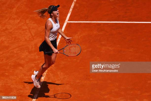 Elina Svitolina of Ukraine celebrates victory after her Womens Final match win against Simona Halep of Romania during day 8 of the Internazionali BNL...