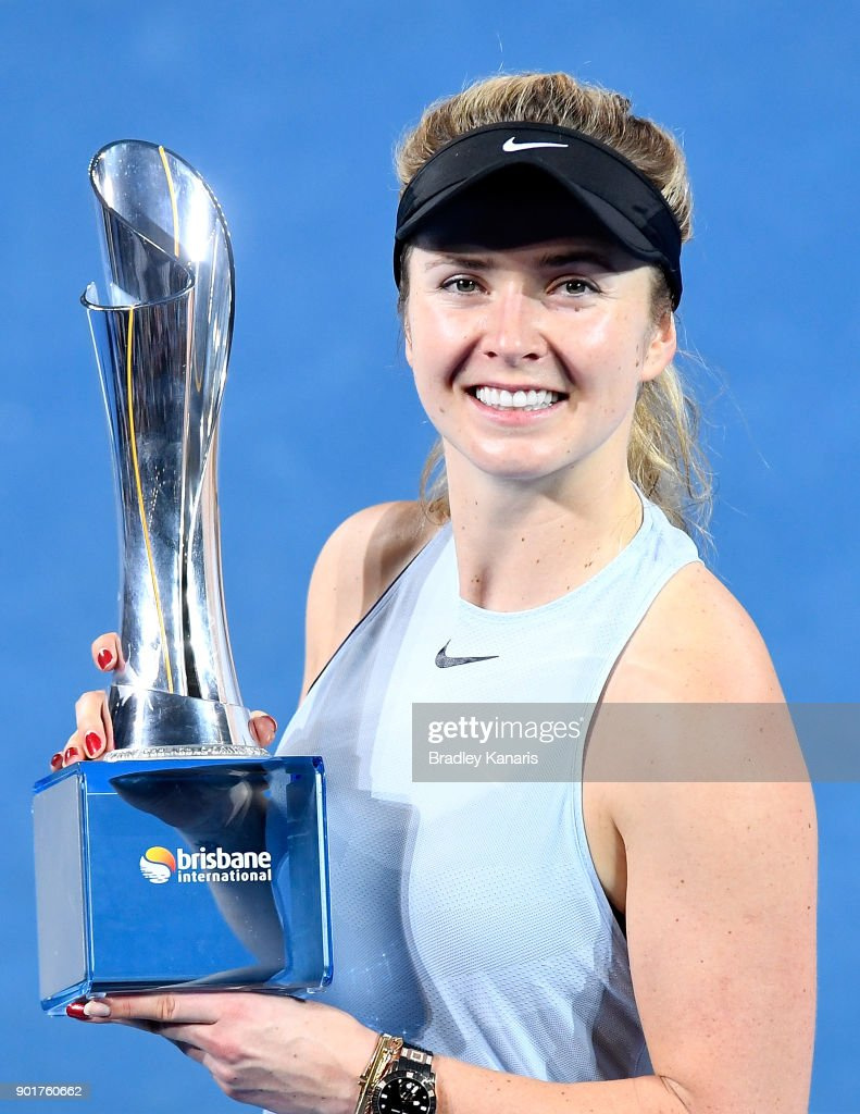 Elina Svitolina of Ukraine celebrates victory after winning the WomenÕs Final match against Aliaksandra Sasnovich of Bulgaria during day seven of the 2018 Brisbane International at Pat Rafter Arena on January 6, 2018 in Brisbane, Australia.
