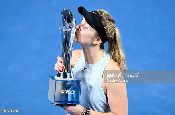 Elina Svitolina of Ukraine celebrates victory after winning the WomenÕs Final match against Aliaksandra Sasnovich of Bulgaria during day seven of the...