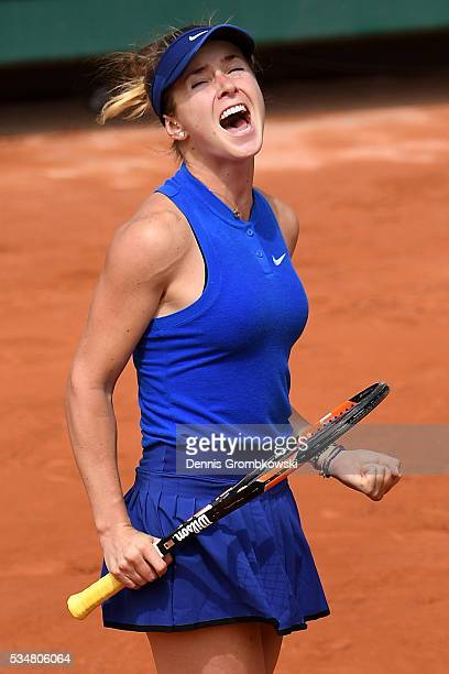 Elina Svitolina of Ukraine celebrates victory during the Ladies Singles third round match against Ana Ivanovic of Serbia on day seven of the 2016...