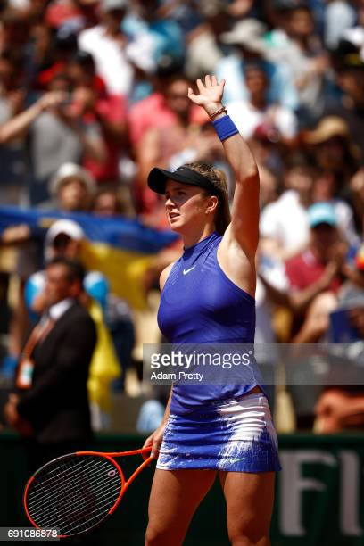 Elina Svitolina of Ukraine celebrates victory during the ladies singles second round match against Tsvetana Pironkova of Bulgaria on day five of the...
