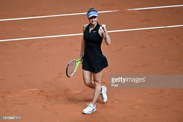Elina Svitolina of Ukraine celebrates victory during the match between Elina Svitolina of Ukraine and Angelique Kerber of Germany during day 6 of the...