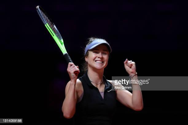 Elina Svitolina of Ukraine celebrates victory during the quarter final match against Petra Kvitova of Czech Republic during day 7 of the Porsche...