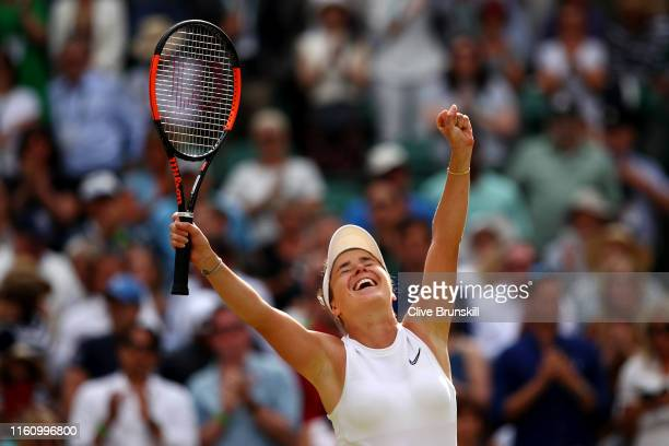 Elina Svitolina of Ukraine celebrates victory following her Ladies' Singles Quarter Final match against Karolina Muchova of Czech Republic during Day...