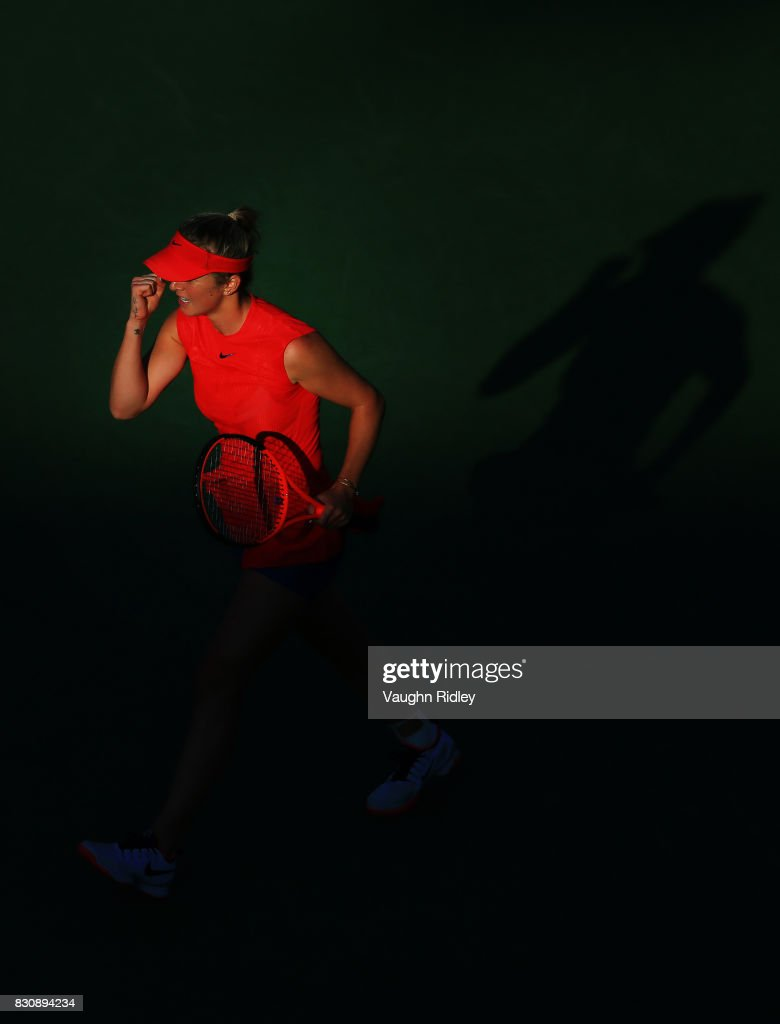 Elina Svitolina of Ukraine celebrates winning a game against Simona Halep of Romania during a semifinal match on Day 8 of the Rogers Cup at Aviva Centre on August 12, 2017 in Toronto, Canada.