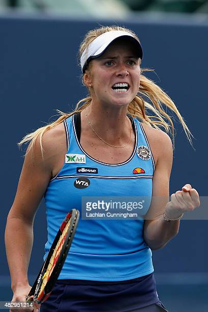 Elina Svitolina of Ukraine celebrates winning a point against Kateryna Bondarenko of Ukraine during day two of the Bank of the West Classic at the...