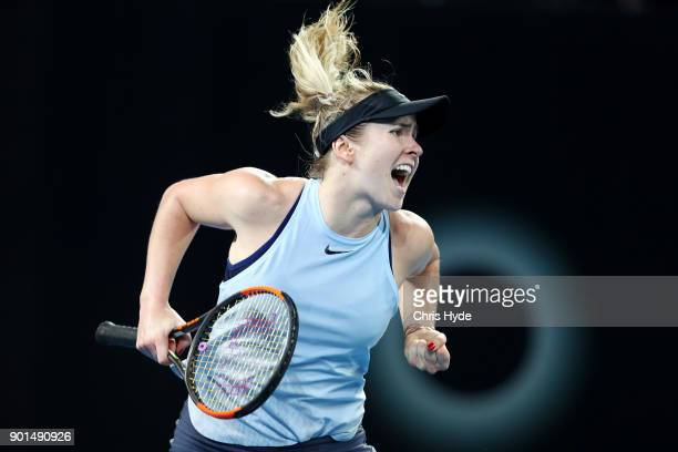 Elina Svitolina of Ukraine celebrates winning her semi final match against Karolina Pliskova of Czech Republic during day six of the 2018 Brisbane...