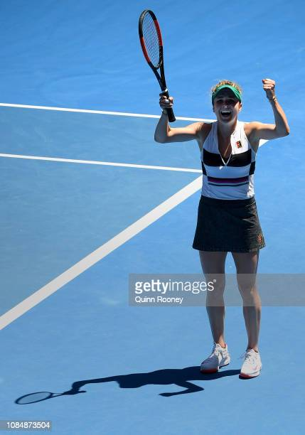 Elina Svitolina of Ukraine celebrates winning match point in her third round match against Shuai Zhang of China during day six of the 2019 Australian...