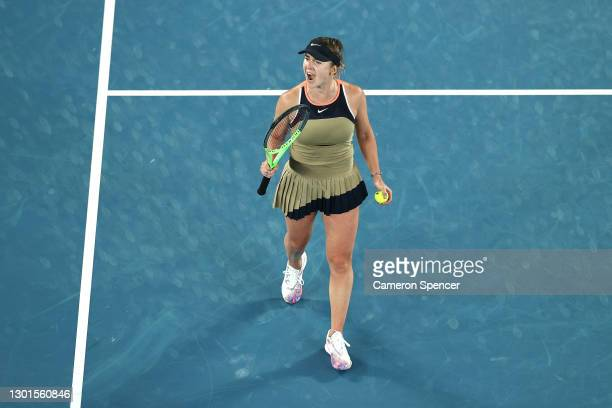 Elina Svitolina of Ukraine celebrates winning match point in her Women's Singles second round match against Coco Gauff of the United States during...