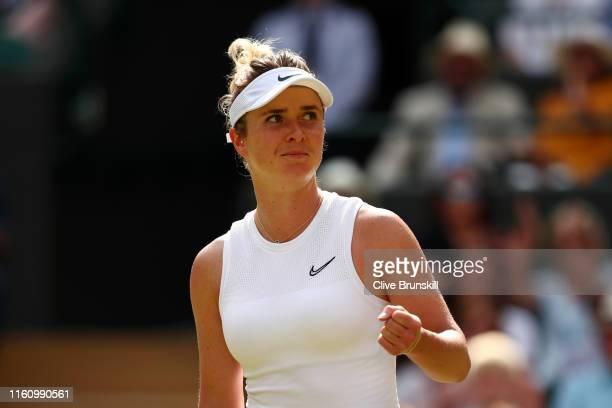 Elina Svitolina of Ukraine celebrates winning the first set in her Ladies' Singles Quarter Final match against Karolina Muchova of Czech Republic...