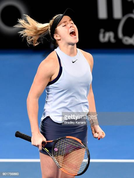 Elina Svitolina of Ukraine celebrates winning the WomenÕs Final match against Aliaksandra Sasnovich of Bulgaria during day seven of the 2018 Brisbane...