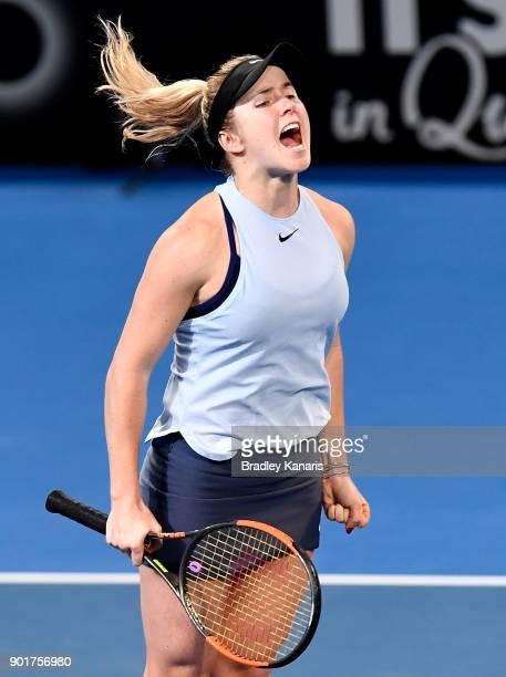 Elina Svitolina of Ukraine celebrates winning the WomenÕs Final match against Aliaksandra Sasnovich of Bulgaria during day seven of the 2018 Brisbane...