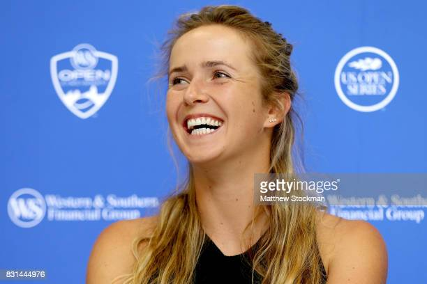 Elina Svitolina of Ukraine fields questions from the media during day 3 of the Western Southern Open at the Lindner Family Tennis Center on August 14...