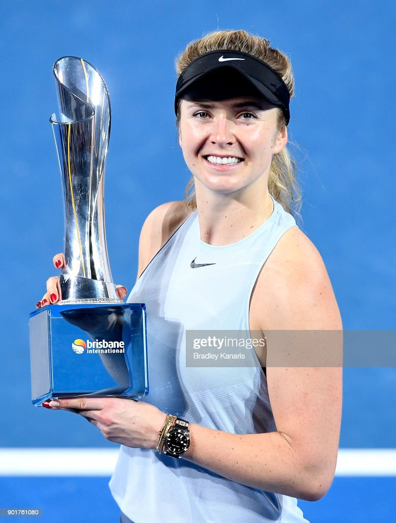 Elina Svitolina of Ukraine holds the trophy as she celebrates victory after winning the WomenÕs Final match against Aliaksandra Sasnovich of Bulgaria during day seven of the 2018 Brisbane International at Pat Rafter Arena on January 6, 2018 in Brisbane, Australia.