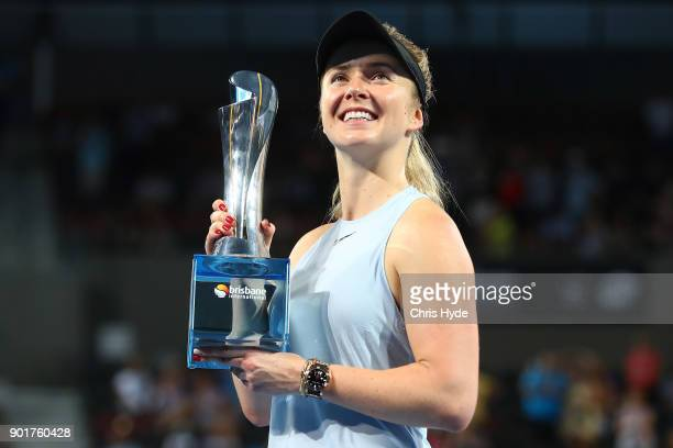 Elina Svitolina of Ukraine holds the winners tophy after the WomenÕs Final match against Aliaksandra Sasnovich of Bulgaria during day seven of the...