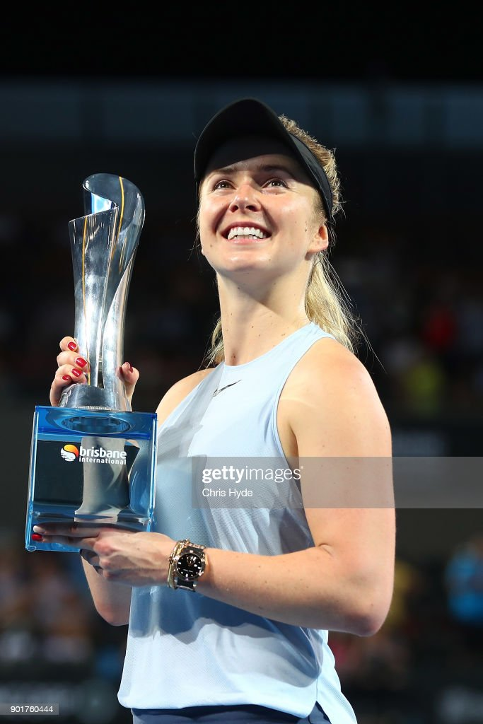 Elina Svitolina of Ukraine holds the winners tophy after the WomenÕs Final match against Aliaksandra Sasnovich of Bulgaria during day seven of the 2018 Brisbane International at Pat Rafter Arena on January 6, 2018 in Brisbane, Australia.