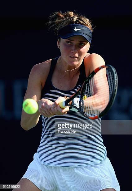 Elina Svitolina of Ukraine in action against Jana Cepelova of Slovakia during day two of the WTA Dubai Duty Free Tennis Championship at the Dubai...