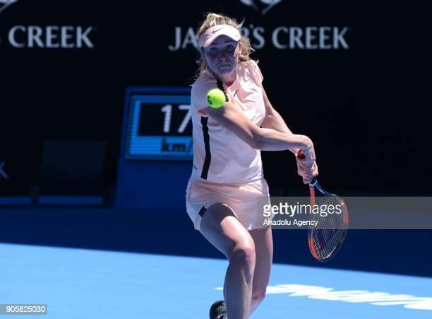 Elina Svitolina of Ukraine in action against Katerina Siniakova of Czech Republic during Women's single match of 2018 Australian Open at Melbourne...