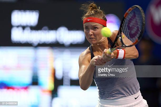 Elina Svitolina of Ukraine in action against Risa Ozaki of Japan during Day Four of the 2016 BMW Malaysian Open at Kuala Lumpur Golf Country Club on...