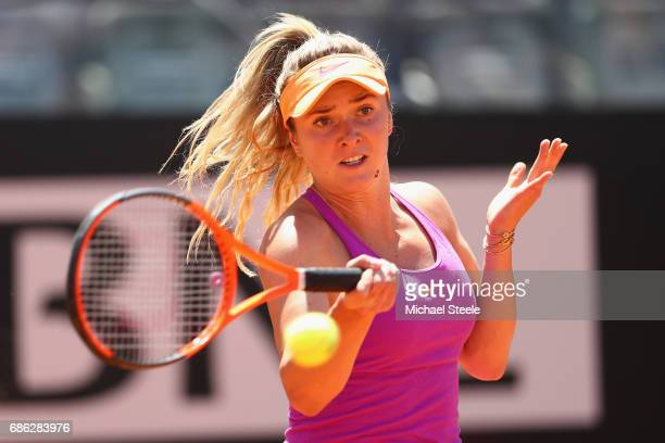 Elina Svitolina of Ukraine in action during the women's final against Simona Halep of Romania on Day Eight of the Internazionali BNL d'Italia 2017 at...