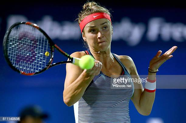 Elina Svitolina of Ukraine in action in her quarter final match agains CoCo Vandeweghe of the USA during day four of the WTA Dubai Duty Free Tennis...
