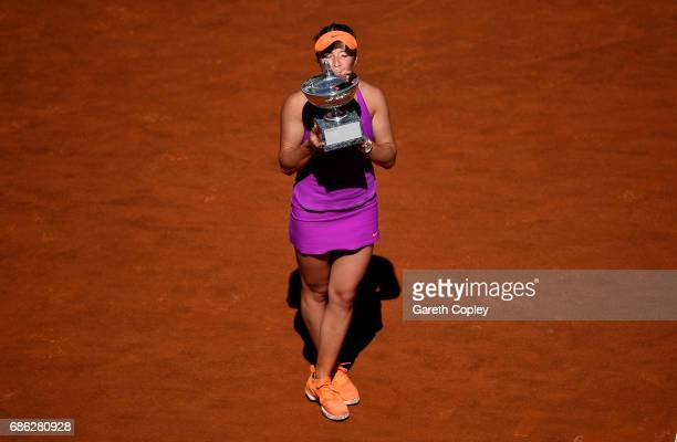 Elina Svitolina of Ukraine kisses the trophy after beating Simona Halep of Romania in the final of The Internazionali BNL d'Italia 2017 at Foro...