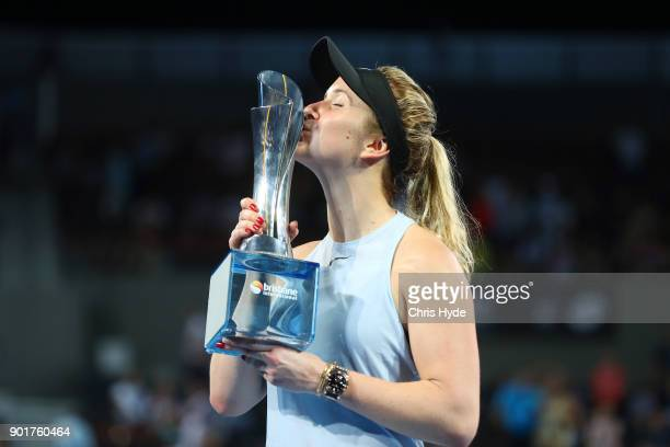 Elina Svitolina of Ukraine kisses the winners tophy after the WomenÕs Final match against Aliaksandra Sasnovich of Bulgaria during day seven of the...