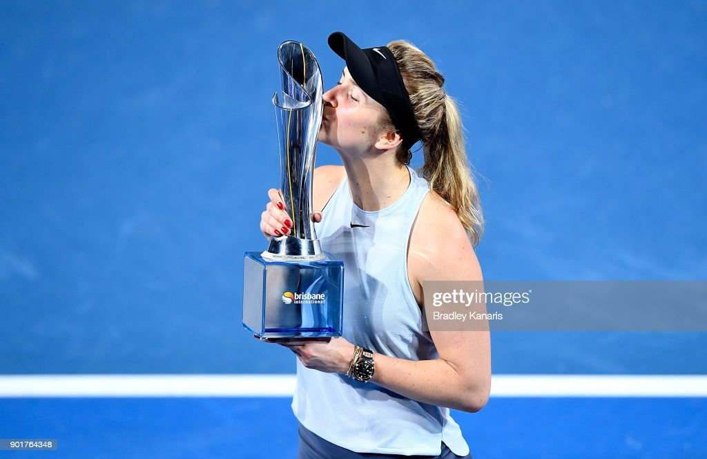 Elina Svitolina of Ukraine kisses the winners trophy after winning the WomenÕs Final match against Aliaksandra Sasnovich of Bulgaria during day seven of the 2018 Brisbane International at Pat Rafter Arena on January 6, 2018 in Brisbane, Australia.