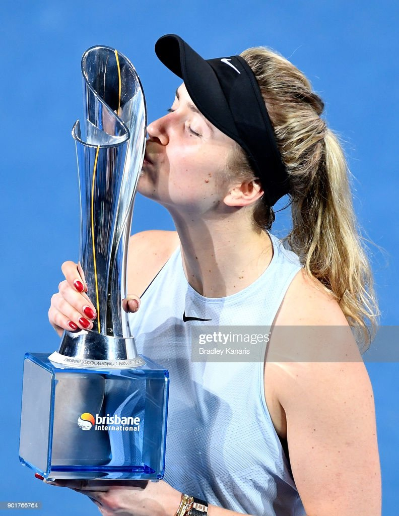 Elina Svitolina of Ukraine kisses the winners trophy as she celebrates victory after winning the Women's Final match against Aliaksandra Sasnovich of Bulgaria during day seven of the 2018 Brisbane International at Pat Rafter Arena on January 6, 2018 in Brisbane, Australia.