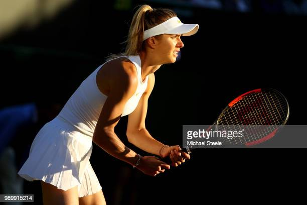Elina Svitolina of Ukraine looks to return a shot against Tatjana Maria of Germany during their Ladies' Singles first round match on day one of the...