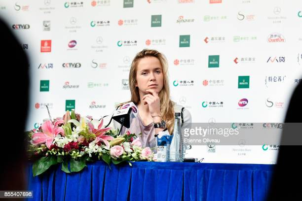 Elina Svitolina of Ukraine meets fans during the preview day of the 2017 China Open at the China National Tennis Centre on September 29, 2017 in...