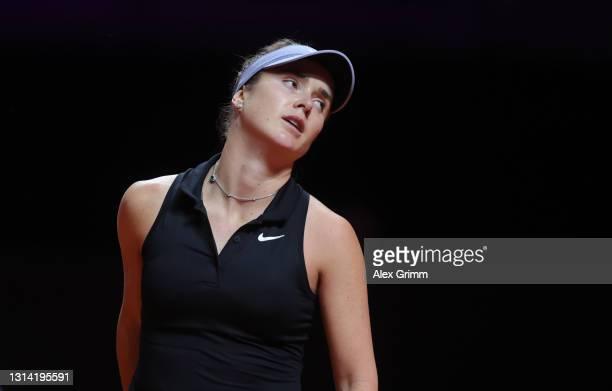 Elina Svitolina of Ukraine of Ukraine reacts during the first semi final match between Ashleigh Barty of Australia and Elina Svitolina of Ukraine...