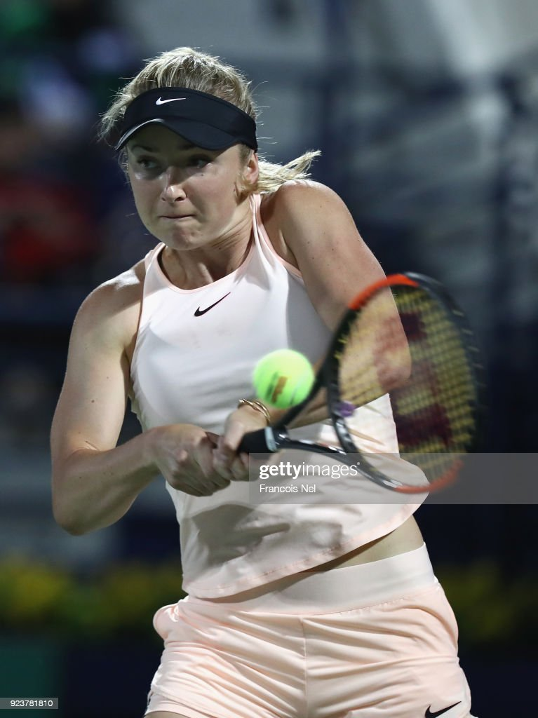 Elina Svitolina of Ukraine plays a backhand against Daria Kasatkina of Russia during the Women's Single Final match on day six of the of the WTA Dubai Duty Free Tennis Championship at the Dubai Duty Free Stadium on February 24, 2018 in Dubai, United Arab Emirates.