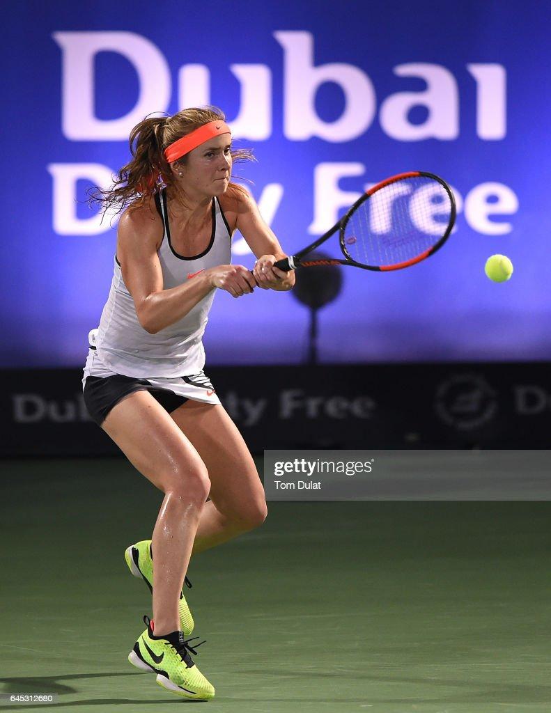 Elina Svitolina of Ukraine plays a backhand during her final match against Caroline Woznacki of Denmark on day seven of the WTA Dubai Duty Free Tennis Championship at the Dubai Tennis Stadium on February 25, 2017 in Dubai, United Arab Emirates.